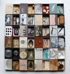⌼ Artistic Assemblages ⌼ Mixed Media, Journal, Shadow Box, Small Sculpture Collage Art - Paperiaarre: twenty-five matchboxes, great display for minis as well