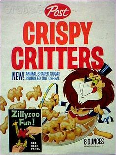 Oh my gosh, I loved this cereal! (New Post Crispy Critters; the one and only cereal that comes in the shape of animals. Now with pink elephants) Kids Cereal, Oat Cereal, Breakfast Cereal, Cereal Boxes, Retro Recipes, Vintage Recipes, Vintage Advertisements, Vintage Ads, Vintage Food