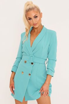 Blue blazer dress in a mini length. Features double breasted button fastening, waist belt and long ruched Polyester, ElastaneMachine WashApprox length: (based on a UK size 8 sample)Model wears a S/UK 8 and her height is Blue Blazer Dress, Lace Blazer, Lace Bodysuit, Long Sleeve Bodysuit, Smock Dress, Buy Dress, Check Pinafore Dress, Black Bandeau, Crop Blouse