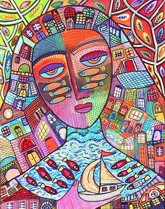 Safe Journey Sea Goddess Painting by Sandra Silberzweig
