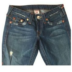"""True Religion Bobby Bootcut Jeans Factory Distressed  with minimal wear. Inseam 32 """" True Religion Jeans Boot Cut"""