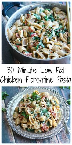 30 Minute Low Fat Chicken Florentine Pasta. Kid-friendly and perfect for busy weeknights.