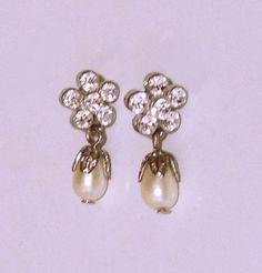 Vintage Rhinestone and Faux Pearl Earrings pierced by designfrills