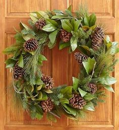 Pinecone and Magnolia Leaf Wreath. #Christmas #Wreaths