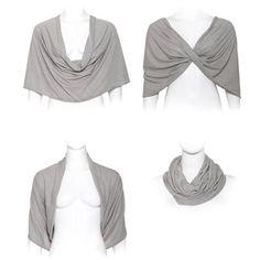 Grey sheer shawl, 4 options top- shawl, shrug, twist and infinity scarf, bridesmaid shawl, gift for women, sheer clothing (CF110)