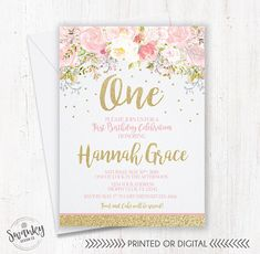 Pink and Gold First Birthday Invitations Printed or Digital **This gold glitter effect is only imitating the original gold glitter.** ------------------------------------------------------- HERES HOW THIS WORKS ------------------------------------------------------- >Step 1<