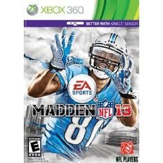 Madden NFL 13 for Xbox 360 - Madden NFL 13 delivers world-class presentation with an all-new living front end, dynamic in-game transitions, a live ticker, and drastically improved usability. Every game has the feel of a nationally televised broadcast with CBS Sports commentators Jim Nantz and Phil Simms calling the action from the virtual 3D booth. $45.76