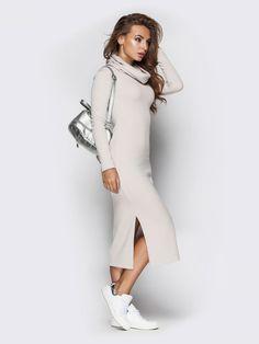 Bodycon Dresses – Ivory sweater dress,cowl neck comfortable dress  – a unique product by Evgeniya-Pyshnicov28 on DaWanda