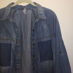 Denim long sleeve button up Denim material, long sleeve button up, size large Xhilaration Tops Tees - Long Sleeve