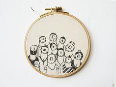 Wanddeko - Große Gruppe — Bild, Druck im Stickrahmen. - ein Designerstück von v-d-blokk bei DaWanda