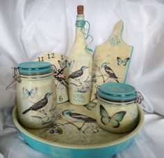 Sweet idea - make matching set of containers with decoupage glue and pretty paper! Decoupage Glass, Decoupage Art, Decoupage Vintage, Decoupage Ideas, Wine Bottle Crafts, Mason Jar Crafts, Bottle Art, Decorative Tape, Decorative Items