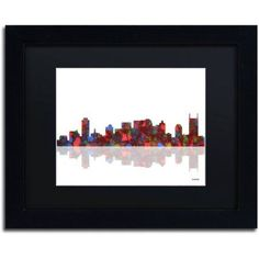 Trademark Fine Art Nashville Tennessee Canvas Art by Marlene Watson Black Matte, Black Frame, Size: 11 x 14, Multicolor