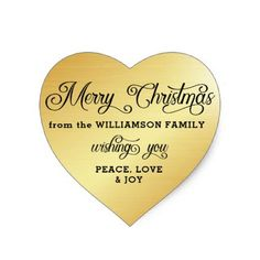 Personalized Heart-Shaped Gold Christmas Sticker - merry christmas diy xmas present gift idea family holidays