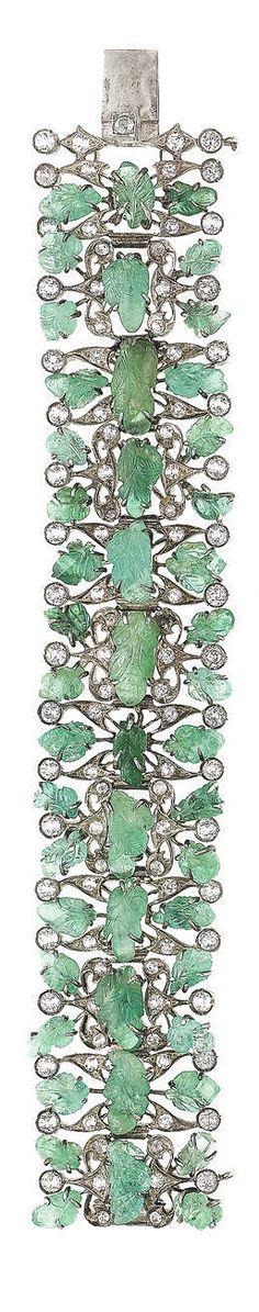 An art deco emerald and white sapphire bracelet, circa 1930