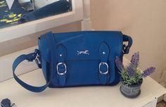 Blue Satchel Medium Sized Handbag With Long by MerryLegsandTiptoes