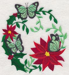Christmas Butterfly Wreath design (L4108) from www.Emblibrary.com