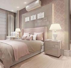 """323 curtidas, 6 comentários - Arquitetura, Decor & Design (@decoreseuespaco) no Instagram: """"Mais um quarto MEGA delicado com cabeceira em laca + iluminação indireta. Amamos o papel de parede…"""""""