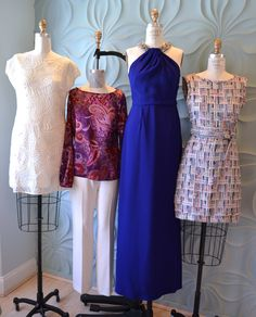 Spring window display at Julia Farr  Catherine Malandrino white dress, Julia Farr Collection Paisley Milano Top, Raoul purple gown and Bell by Alicia Bell tweed dress