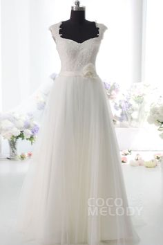 Pretty Sheath-Column Straps Natural Floor Length Satin Tulle and Lace Ivory Sleeveless Side Zipper Wedding Dress with Appliques Beading Sashes and Flower CWSF14004