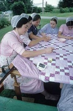 Amish quilting party (well, they are actually mennonite). Sewing bees are a great social outing.