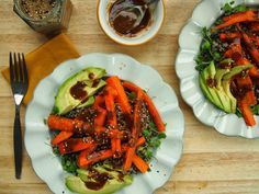 Roasted Carrot and Quinoa Salad with Soy-Miso Dressing - Avocado a Day