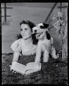 Elizabeth Taylor with a fox terrier!  (via officialnicohlewoodburyy)  Thanks to alldeer!