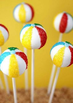 Beach ball cake pops - @Stacy Stone-Quint Cook  - These would be cool for a pool party?