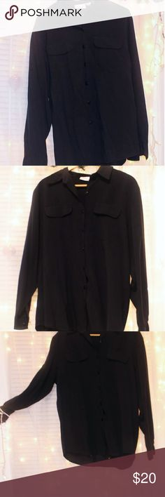 Classic, soft black button down shirt. A classic and timeless style shirt that can be used in a variety of settings, in a color that will never be out of style. This shirt has barely any use, it's a true black, the material is very soft, it is machine washable friendly. Comes from a smoke free environment, open to negotiations. Stay tune for the measurements. croft & barrow Tops Button Down Shirts