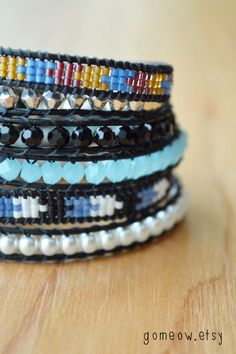 Blue Wrap Bracelet // Triple Leather Wrap Bracelet // by Gomeow