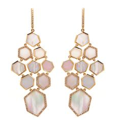 Mother of pearl and diamond earrings, yellow gold.