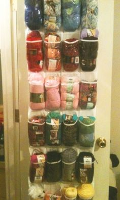 Use clear shoe organizers to keep yarn stored and organized.  This is a great space saver!