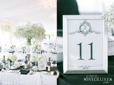 WedLuxe: classic black + white centerpieces and table cards