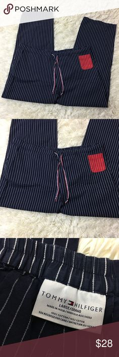 🎈 Tommy Hilfiger Red White and blue Pajama Pants Red white and blue pajama pants. Size large. In excellent used condition. Elastic waistband with draw strings. 36 inch waist without stretching material. 28 inch inseam Tommy Hilfiger Intimates & Sleepwear Pajamas