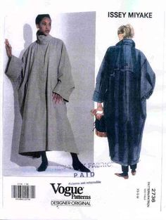 Issey Miyake Vogue Pattern, I made this as a raincoat... an interesting challenge, but it came out well in a glazed khaki green cotton.  (Previous pinner)