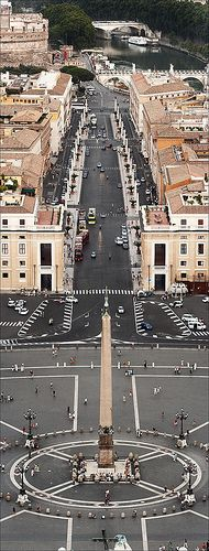 From bottom up: St. Peter's square, Via della Conciliazione,Sant'Angelo's Castle (left) and the Tiber river (on the right)