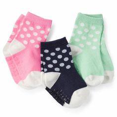 3-Pack Bright Dot Crew Socks $14