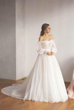 Mesh wedding dress trained light reception dress romantic | Etsy