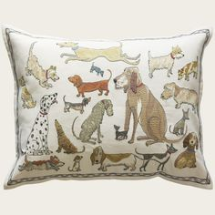 dogs socializing pillow | domenica more gordon for chelsea textiles.
