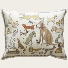 dogs socializing pillow | domenica more gordon for chelsea textiles.