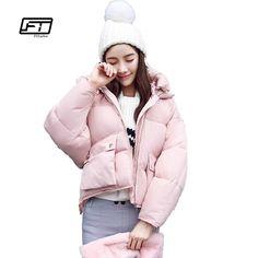 Winter Fashion Women Jackets Short <font><b>Design</b></font> Cute Cotton Padded Pink Coats Causual Warm <font><b>Hoodies</b></font> Loose Padded Parkas Casaco Feminino