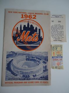 Rare New York Mets Baseball Ticket Stub, Mets 1st Home Game, April 13, 1962, Polo Grounds, Mets VS Pirates, Program Score Card, Shea Stadium - pinned by pin4etsy.com