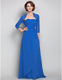 Sheath/Column Strapless Chiffon  Mother of the Bride Dress (605574). Get unbeatable discounts up to 70% Off at Light in the box using Mother's Day Promo Codes.