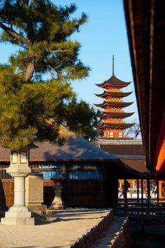 Five story pagoda of Itsukushima shrine, Hiroshima, Japan: photo by t.yukishita, via Flickr