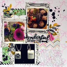 "Turning 22 12x12 scrapbook using Maggie Holmes ""Bloom"" - Julia K"