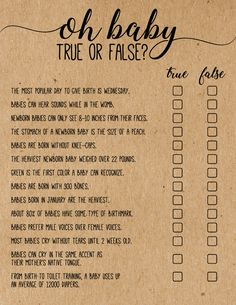 Baby Shower True or False Game - These rustic Oh Baby True or False Baby Shower Game Cards are a fun baby shower game to add to your - Baby Shower Games Unique, Baby Shower Themes, Shower Ideas, Baby Shower Games Coed, Baby Shower Guessing Game, Baby Shower Games For Large Groups, Baby Shower Game Gifts, Baby Shower Activities, Baby Shower Printables
