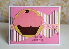 Pink Cupcake card by Gail Owens for @kiwilane using Kiwi Lane Designs temples and SEI paper