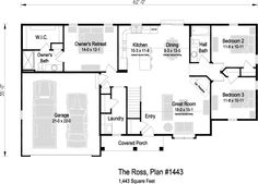 The Ross, Plan 1443 | 1,443 sq ft | 3 bedroom | 2 bath Garage Entry, Find Homes For Sale, Square Feet, Great Rooms, House Plans, Floor Plans, Real Estate, Bath, How To Plan