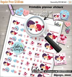 60%OFF - Valentines Stickers, Printable Planner Stickers, Kawaii Stickers, Valentines Day Stickers, Planner Accessories, Functional Stickers