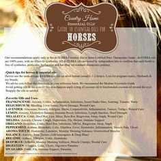 Guide to using essential oils for horses https://m.facebook.com/countryhome.eo  To learn more about doTERRA essential oils visit http://mydoterra.com/countryhome