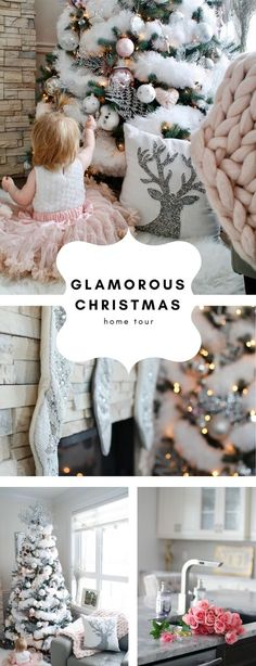 Glam Christmas Home Tour with white fluffy feathered faux flocked Christmas tree, pink, silver and white ornaments. Glitzy, glam, classy Christmas. Full tour on Chandeliers and Champagne.